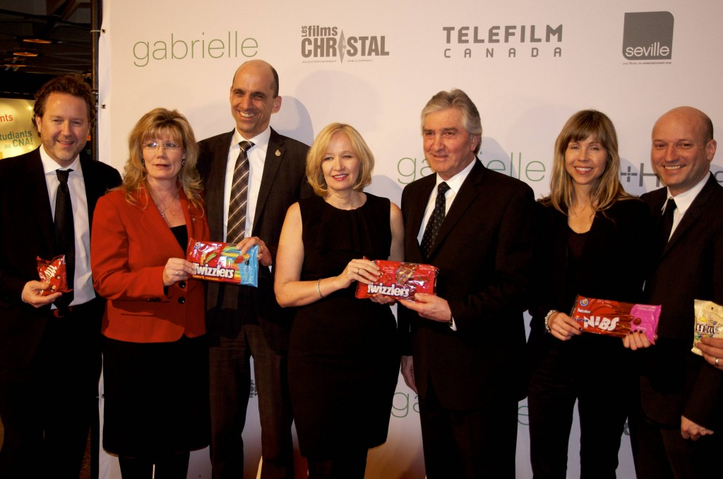 "From Left to Right: Patrick Roy (President of Les Films Seville), Shelly Glover (Minister of Candian Heritage and Official Languages), Steven Blaney (Minister of Public Safety), Carolle Brabant (CEO Telefilm Canada), Michel Roy (Chairman Telefilm Canada, Louise Archambault (Director of ""Gabrielle""), and Luc Dery (Producer for micro_scope)."