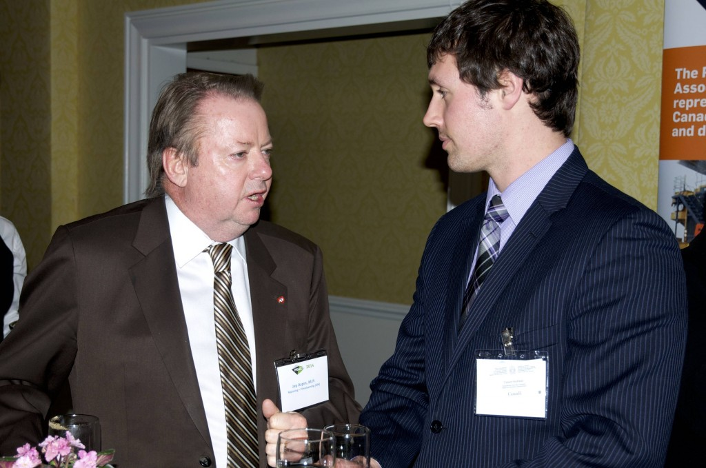 Jay Aspen, MP of Nipissing-Timiskaming speaks to Parliamentary Secretary Assistant, Carson Andrews