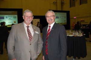 Chuck MacLean, chair of Canada Beef Inc., left, and Agriculture Minister Geery Ritz, right