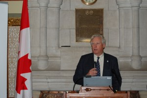 WWF-Canada CEO David Miller speaks to the crowd gathered in Centre Block on Parliament Hill