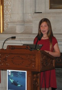 Ten-year-old Rachel Marshall, Earth Rangers ambassador, spoke about protecting whales and their habitat