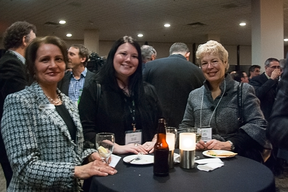 From left to right: Jeaneatte Mongeon, board member of the Agricultural Management Institute and director with Farm Management Canada; FMC Executive Director Heather Watson; and Judith Andrew, who is the commissioner for employers at the Canada Employment Insurance Commission, at the CFA president's reception.