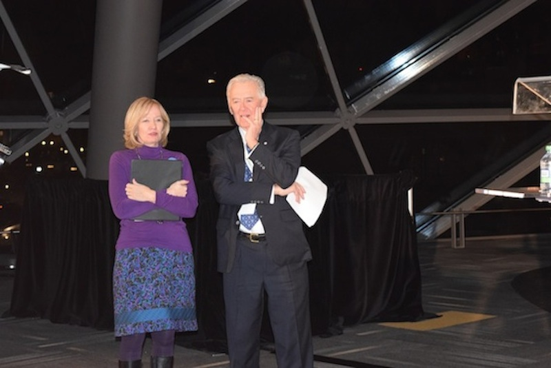 Laureen Harper prepares to address the crowd (left) alongside Preston Manning, president and CEO of the Manning Centre (right)