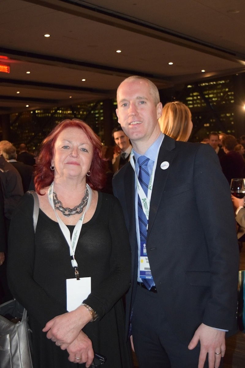 Catherine Swift of Working Canadians (left) and Terrance Oakey, president of Merit Canada (right)