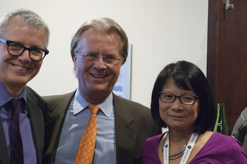 Liberal MP Adam Vaughan, Earnscliffe's Robin Sears and Olivia Chow at the opening reception. Alyssa O'Dell photo.