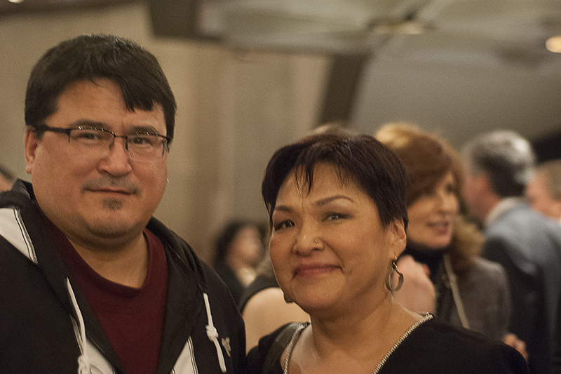 Inuit Circumpolar Council Canada president Duane Smith, left, and ICC international chair Okalik Eegeesiak, right, are both members of ITK board of directors who were busy mingling at the NAC. Alyssa O'Dell photo.