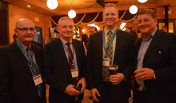 From left to right: Gay Patrick, executive director of Saskatchewan Potash Producers Association; Mark Frachhia, president and CEO of PCS Potash, also known as PotashCorp; Cam Baker, manager of government relations Canada at PCS Potash; and Hugh Loomans, president and CEO of Sylvite all mingled over a few drinks at the Fertilizer Canada event.