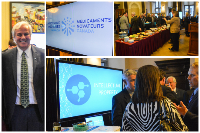 Innovative Medicines Canada (top centre) introduces their rebrand. President of IMC Russell Williams poses for a photo (top left) during the reception. Five stations were set up in the room, as a guided tour from medicine development to deployment. Food and drinks were available in the packed room, as IMC representatives met with legislators to introduce themselves.